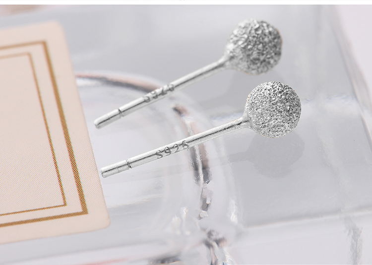 S925 small round beads sterling alloy earrings frosted Platinum NHKSE29651