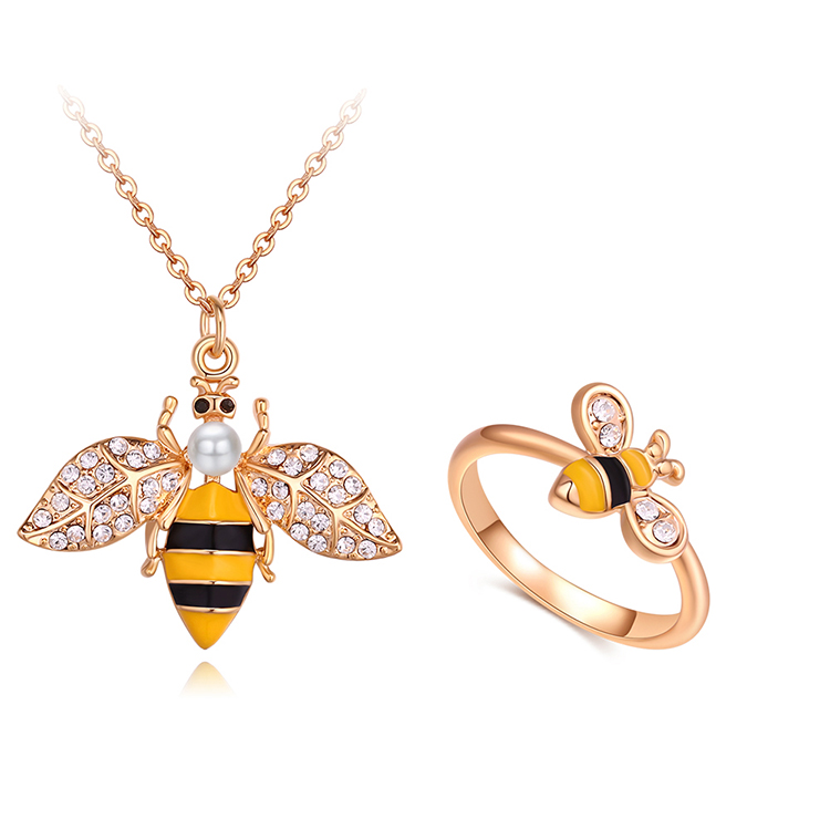 Imported Imitated crystal Set  Elf Little Bee Champagne Alloy + White NHKSE29669