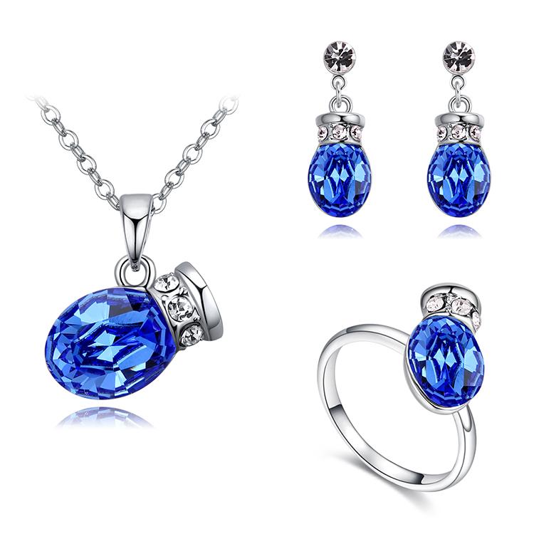 Conjunto de cristal austriaco imitado  Olla romntica azul NHKSE29719