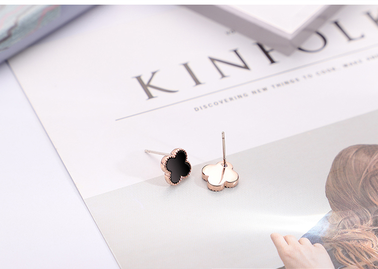 Plated Alloy S925 Alloy Needle Lucky Four Leaf Set (Platinum) NHKSE29732