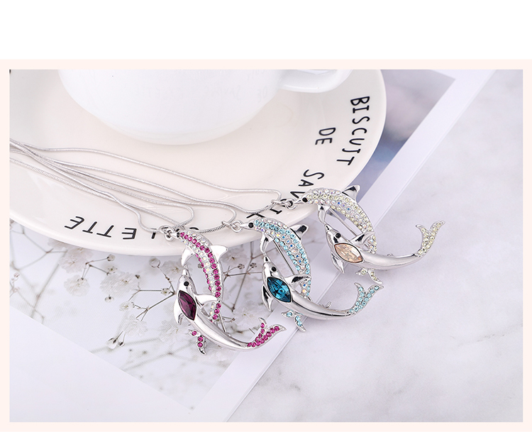 Austrian Imitated crystal Brooch Sweater Chain Dualuse  Double Dolphin Love Platinum + Purple NHKSE29764