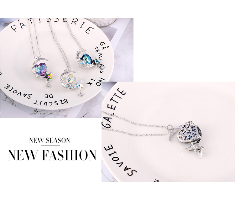 Austrian imitated crystal brooch sweater chain dual-use models - month on the heart bay (Platinum + color white) NHKSE29774