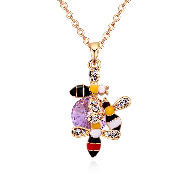 Austrian Imitated crystal Necklace - Three Bees (Champagne Alloy + Violet) NHKSE29796