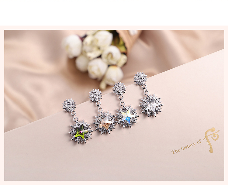 Austrian Imitated crystal S925 Alloy Needle Earrings  Colorful Flowers Colorful NHKSE29809