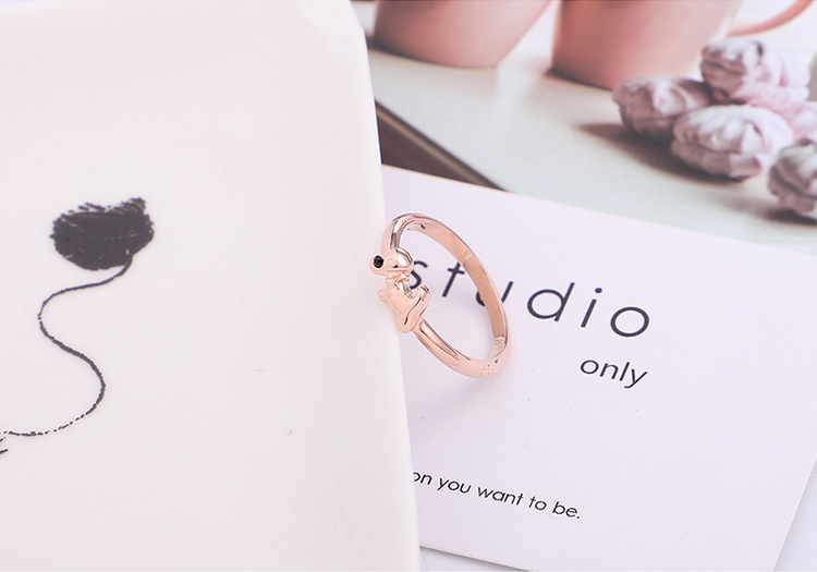 Plated alloy ring  cute little cute dog rose alloy + white NHKSE298197