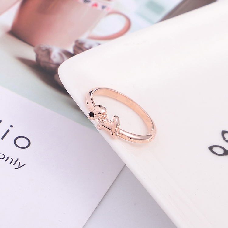 Plated alloy ring - cute little cute dog (rose alloy + white) NHKSE29819-7