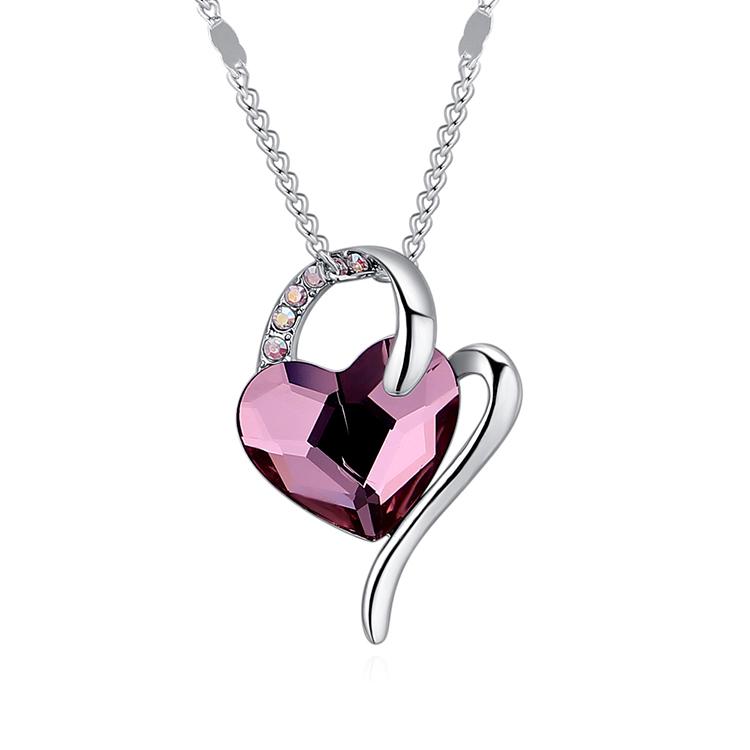 Austrian Imitated crystal Necklace  Wishing Heart Light Purple NHKSE29849