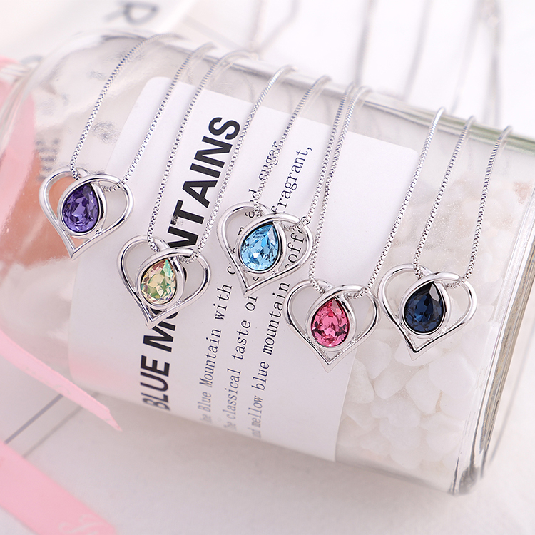 Austrian Imitated crystal Necklace  Heart of Water Spirit Tanzanite NHKSE29891