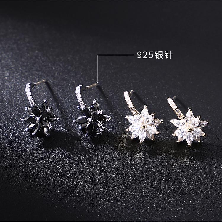 Alloy S925 Alloy Needle Earrings  Frost Flower Platinum + Black Fashion Jewelry NHKSE30021