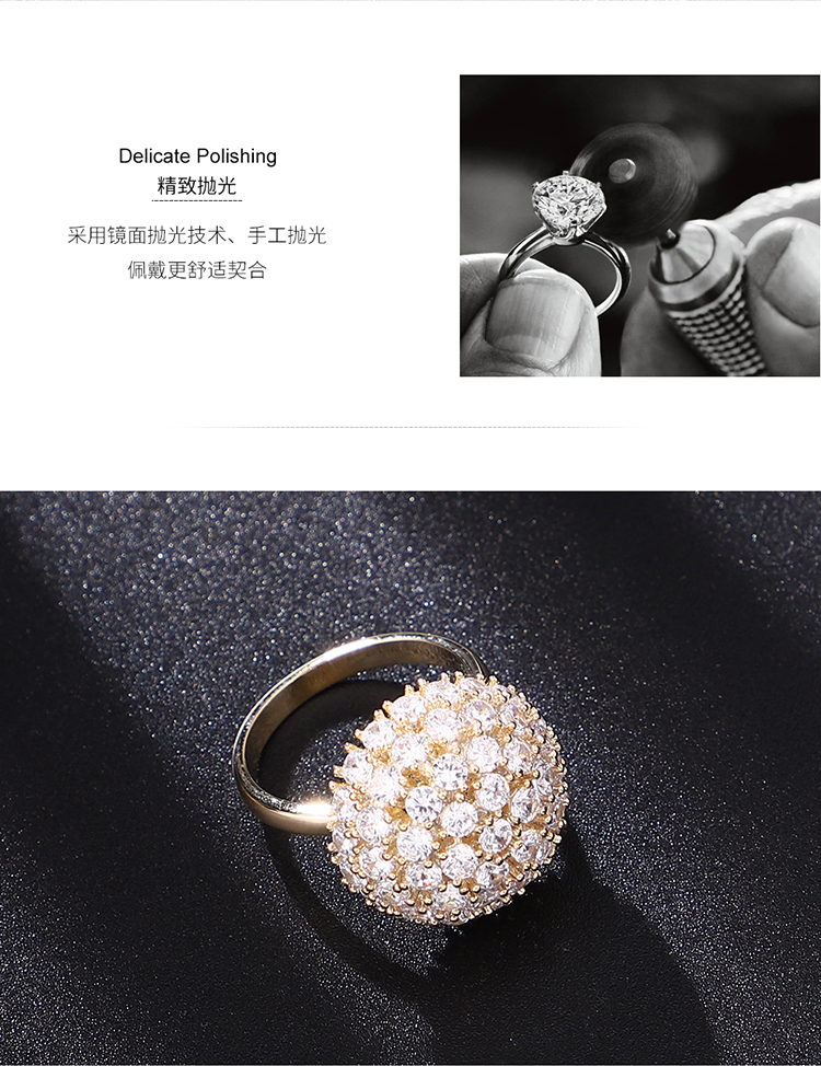 Alloy Rotating Ring--Starry Sky (Platinum) Fashion Jewelry NHKSE30025-7