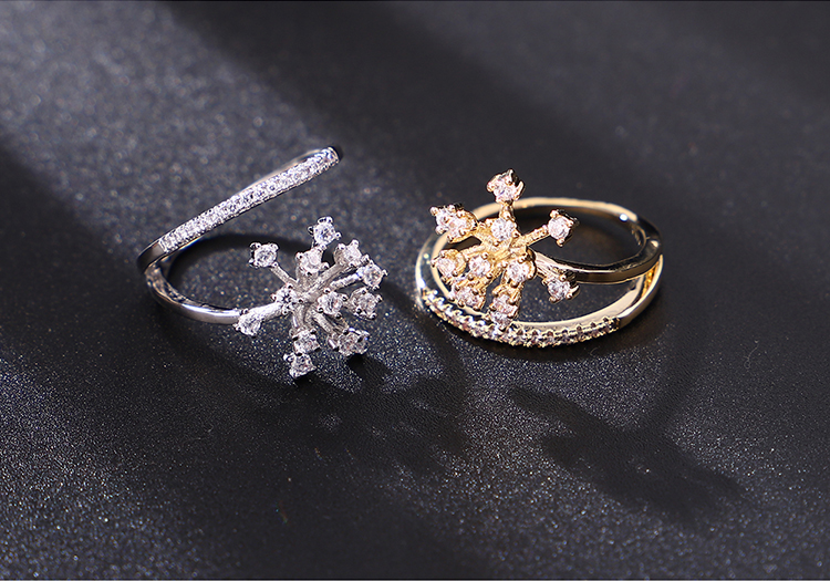 Alloy Rings  Snowflakes Champagne Alloy Fashion Jewelry NHKSE300377