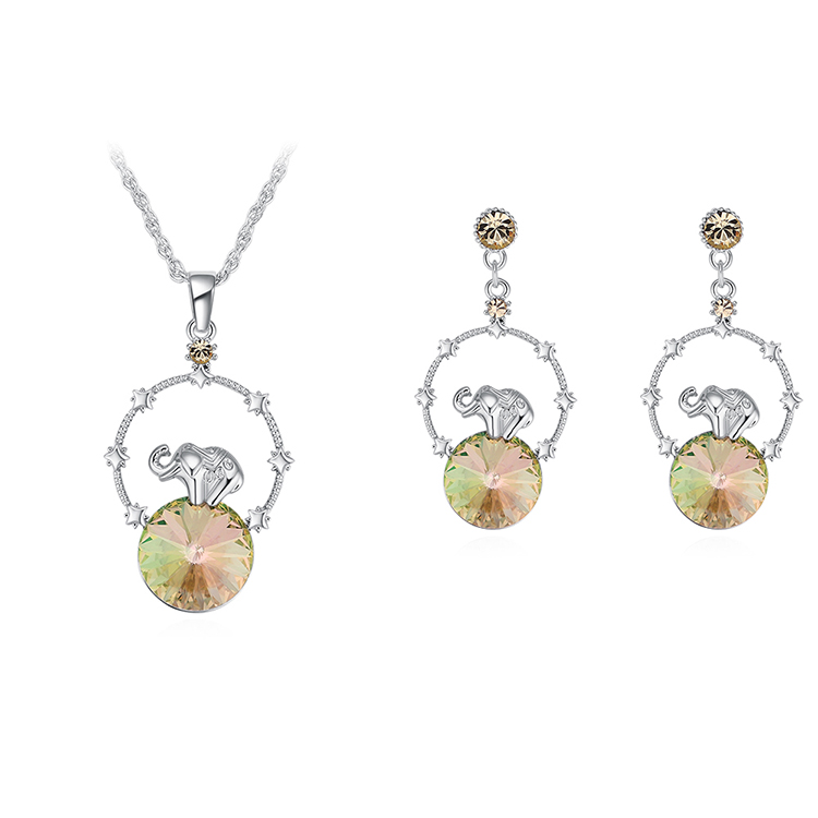 Austrian Imitated crystal Set  Creative Elephant Luminous Green Fine Jewelry NHKSE30074