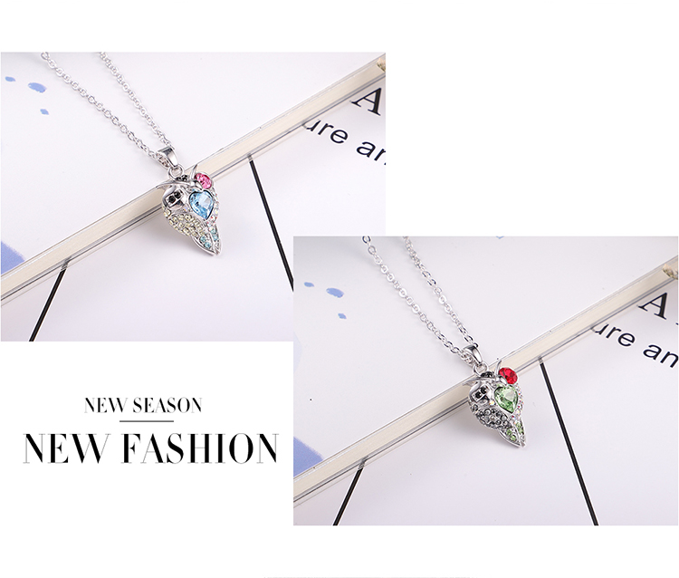 Austrian Imitated crystal Necklace - Cool Owl (White + Blue Zircon) Fine Jewelry NHKSE30080