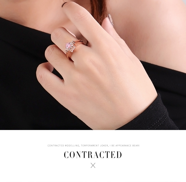 Shaking tone network red models can be flipped doublesided ring  double heart Platinum Fashion Jewelry NHKSE300927