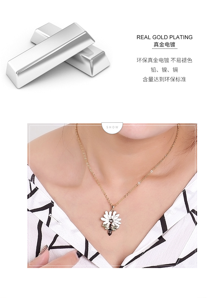 Alloy Necklace - Picking Honey Bee (Champagne Alloy + Olive) Fine Jewelry NHKSE30095