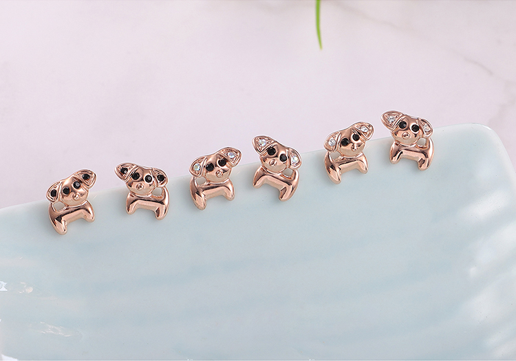 Plated alloy earrings  stay cute puppy rose alloy + white magic Fine Jewelry NHKSE30137