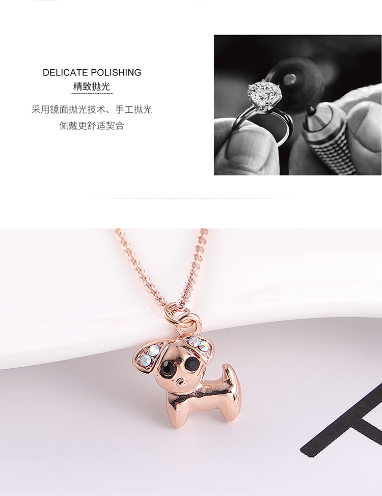 Plated alloy necklace - stay cute puppy (rose alloy + white) Fine Jewelry NHKSE30143