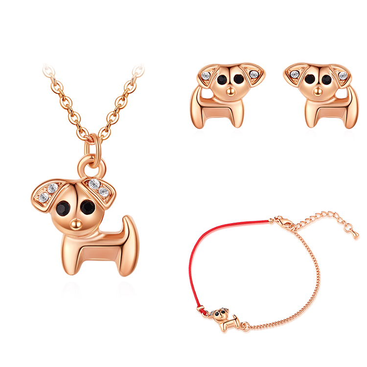 Plated alloy set - stay cute puppy (rose alloy + white) Fine Jewelry NHKSE30146