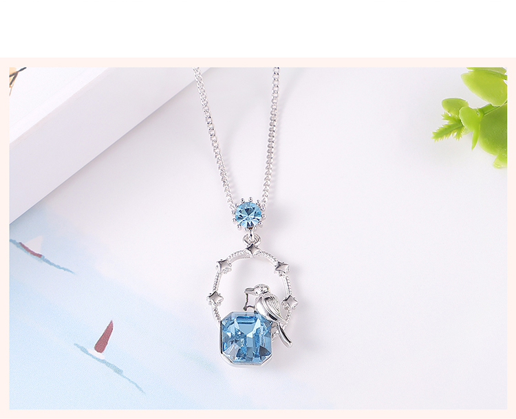 Austrian Imitated crystal Necklace - Moonlight Night Bird (Sea Blue) Fine Jewelry NHKSE30150