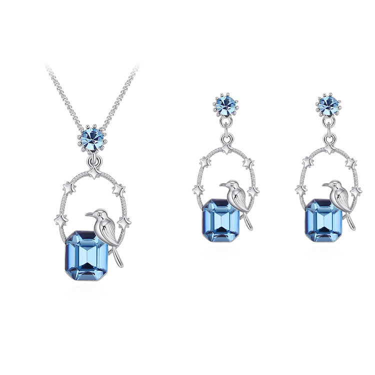 Austrian Imitated crystal Set - Moonlight Night Bird (Sea Blue) Fine Jewelry NHKSE30158