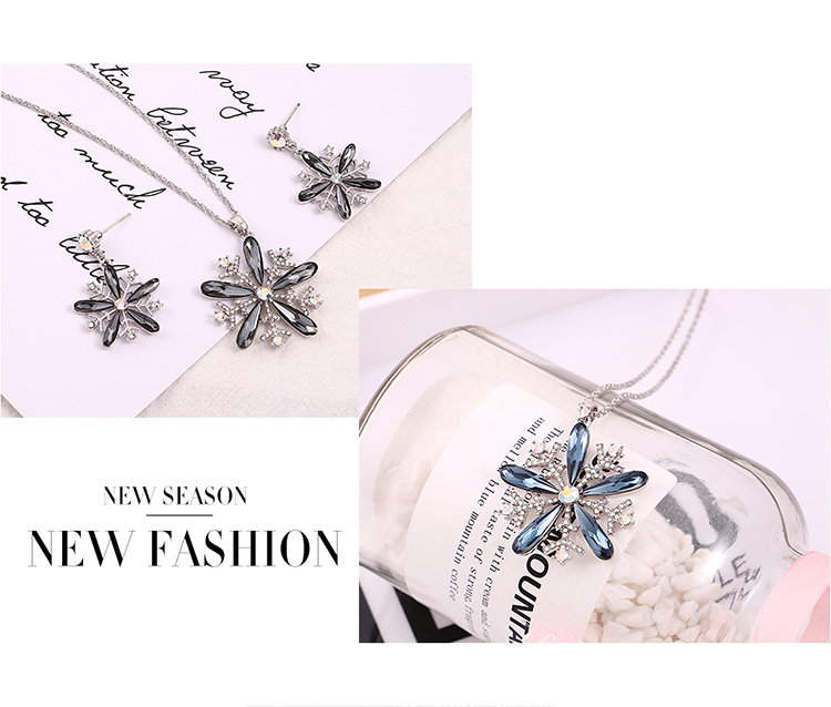 Austrian Imitated crystal Necklace - Snowflake Bloom (Classical Pink) Fine Jewelry NHKSE30198