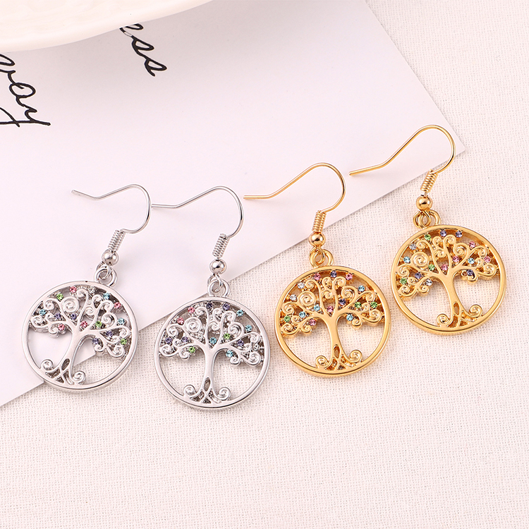 Alloy Earrings--Acacia Tree A (Champagne Alloy + Color) Fine Jewelry NHKSE30203