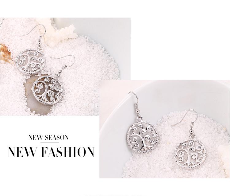 Alloy Earrings--Acacia Tree C (Platinum) Fine Jewelry NHKSE30228