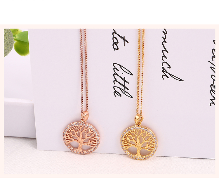 Plated Alloy Necklace - Lucky Tree (Champagne Alloy) Fashion Jewelry NHKSE30232