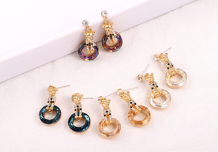 Austrian Imitated crystal S925 Alloy Needle Earrings - Elegant Leopard (Champagne Alloy + White) Fine Jewelry NHKSE30239