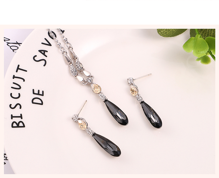 Austrian Imitated crystal S925 Alloy Needle Earrings - Water Spirit Love (Alloy Night Shadow + Alloy Phantom) Fine Jewelry NHKSE30264