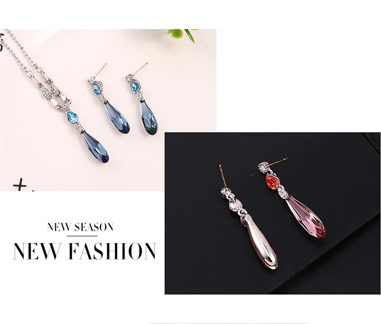 Austrian Imitated crystal Set  Water Spirit Love Alloy Night Shadow + Alloy Phantom Fine Jewelry NHKSE30267