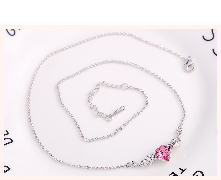 Austrian Imitated crystal Necklace - Sweetheart Angel (Rose Red) Fine Jewelry NHKSE30277
