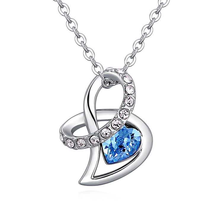 Austrian Imitated crystal Necklace - Gift of Love (Sea Blue) Fine Jewelry NHKSE30282