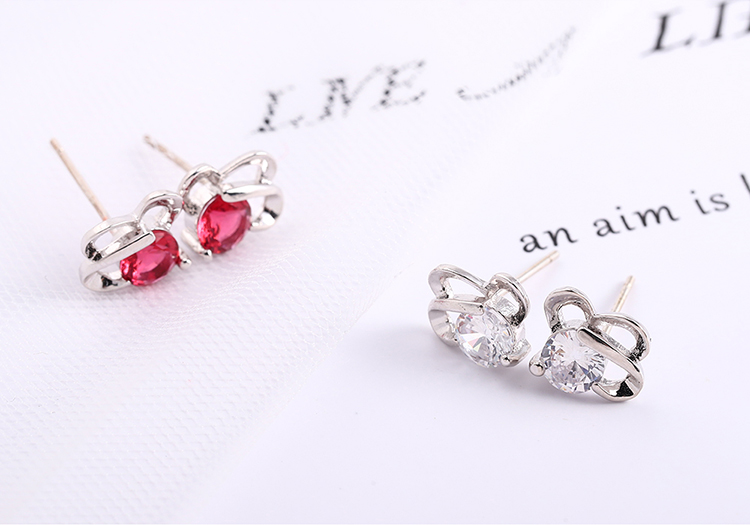 Plated alloy Japanese and Korean style small fresh mini S925 alloy needle stud earrings white alloy + red Fashion Jewelry NHKSE30286