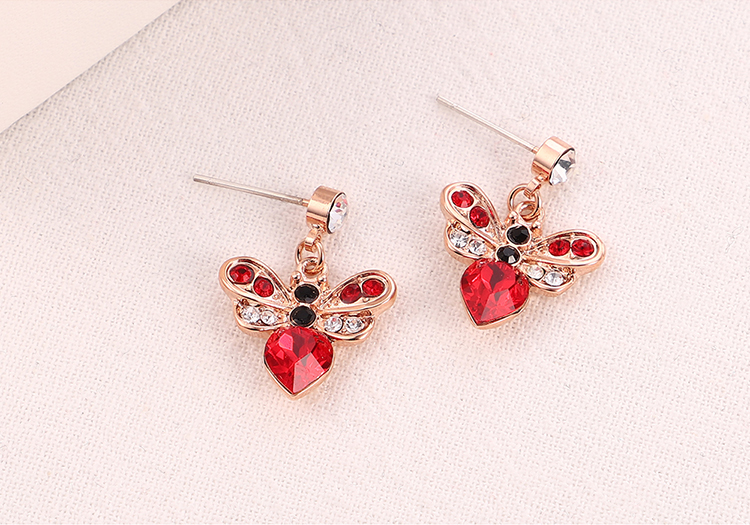 Imitated crystal S925 Alloy Needle EarringsFangxin Honey Love Blue  NHKSE30343