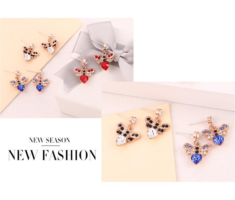 Imitated crystal S925 Alloy Needle EarringsFangxin Honey Love Blue  NHKSE30343