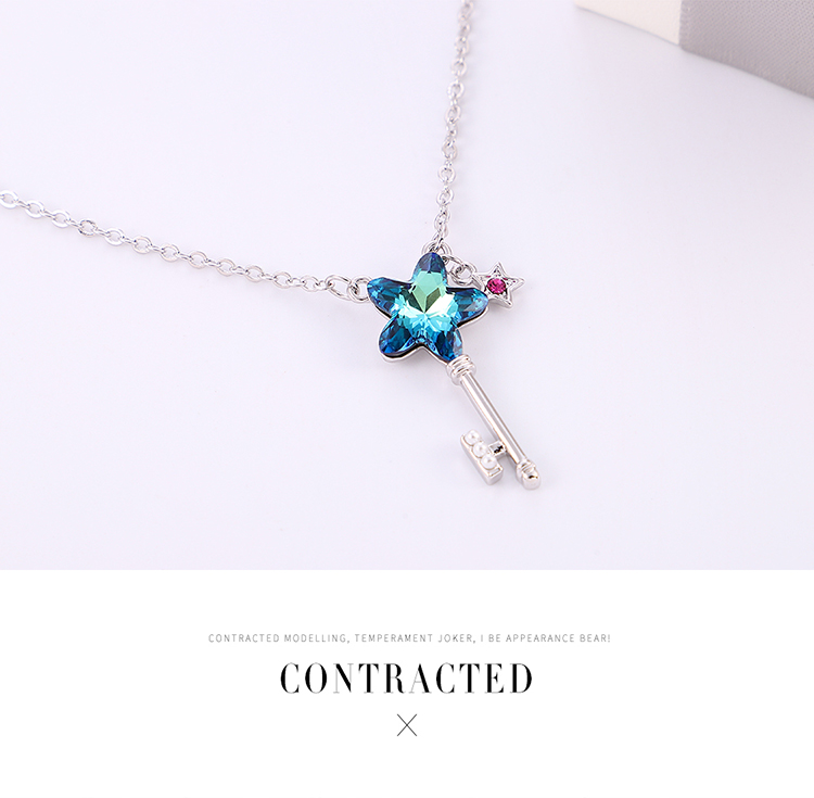 New Fashion Simple Pentagram Key Crystal Necklace Wholesale NHSE204001