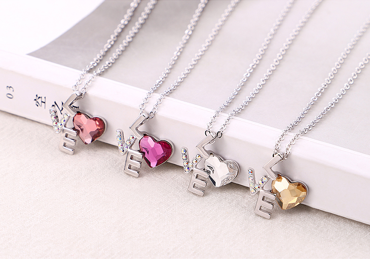 Crystal Love LOVE Necklace Wholesale NHSE206846