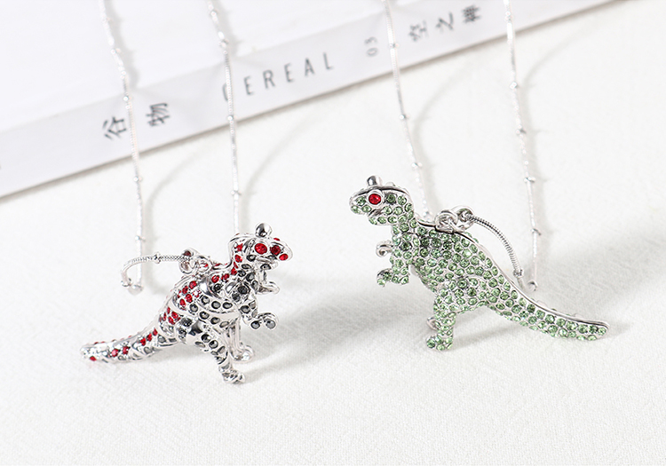 New Fashion Dinosaur Crystal Necklace Wholesale NHSE205318