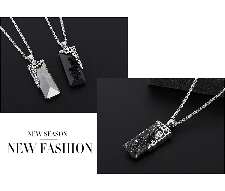 New simple crystal square necklace wholesale NHSE205323