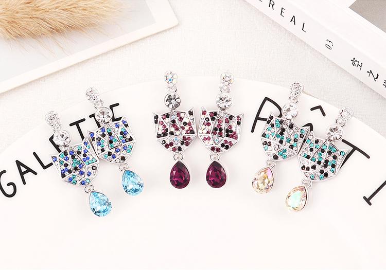 New Fashion Broken Diamond Crystal Earrings Wholesale NHSE204009