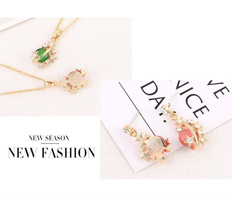 New Fashion Gold Plated Opal Crystal Earring Necklace Set NHSE204017