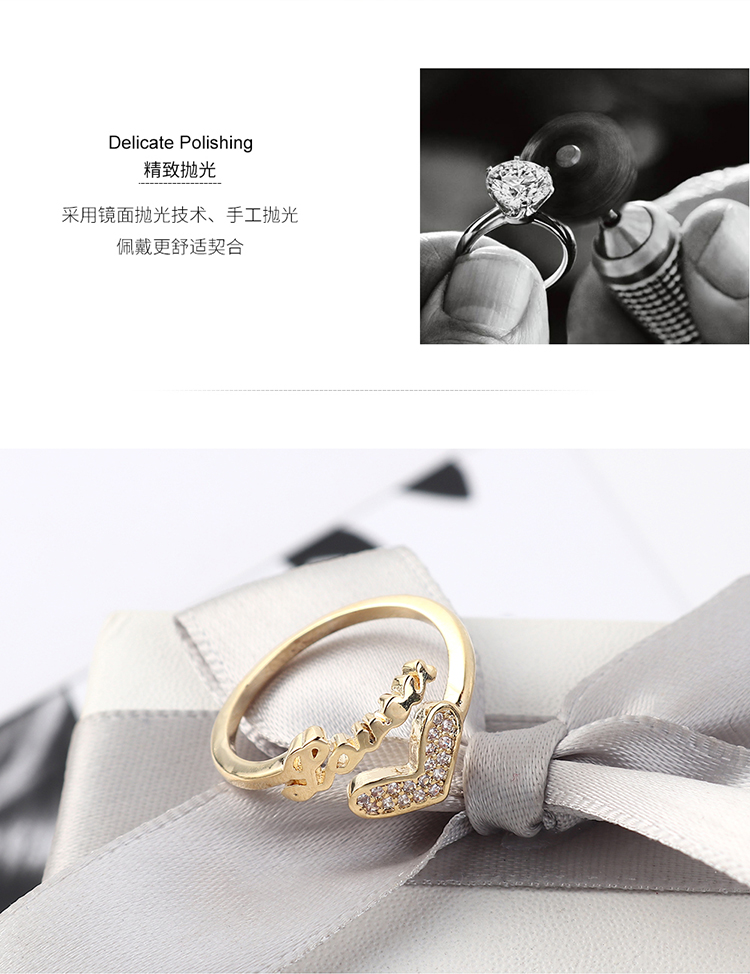Copper & Zircon Ring Fashion NHSE383057