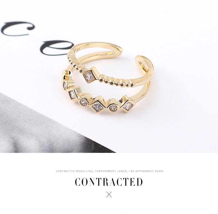 Copper & Zircon Ring Fashion NHSE383044