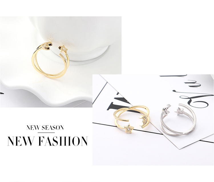 Copper & Zircon Ring Fashion NHSE383036