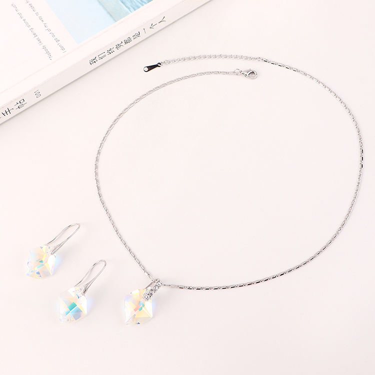 New Fashion Irregular Crystal Necklace Earring Set Wholesale NHSE204024