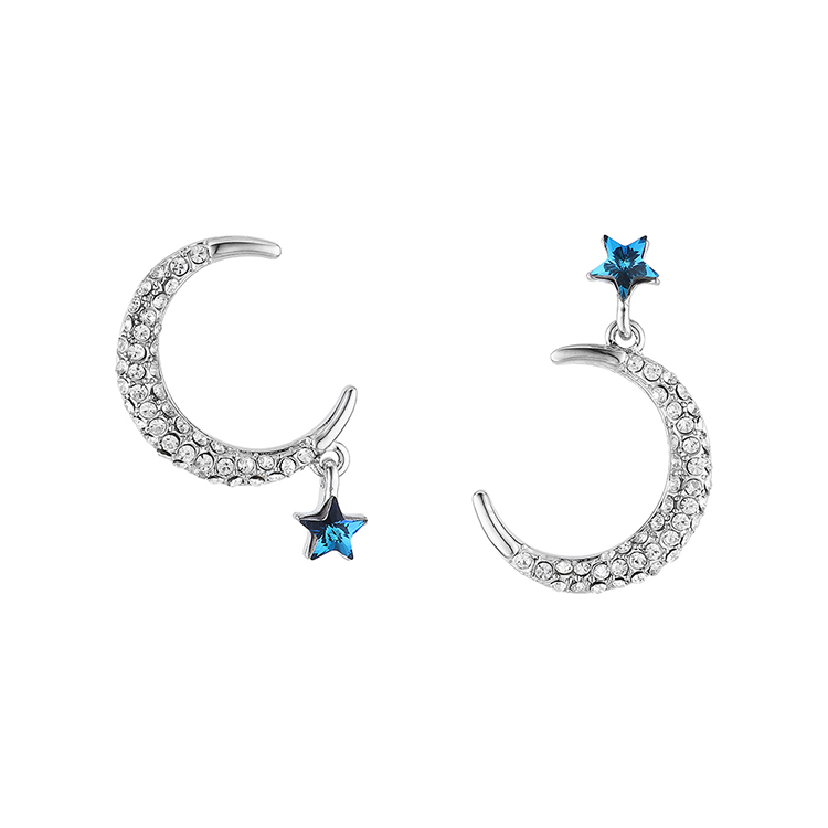 New Fashion Studded Moon and Star Stud Earrings Wholesale NHSE203863