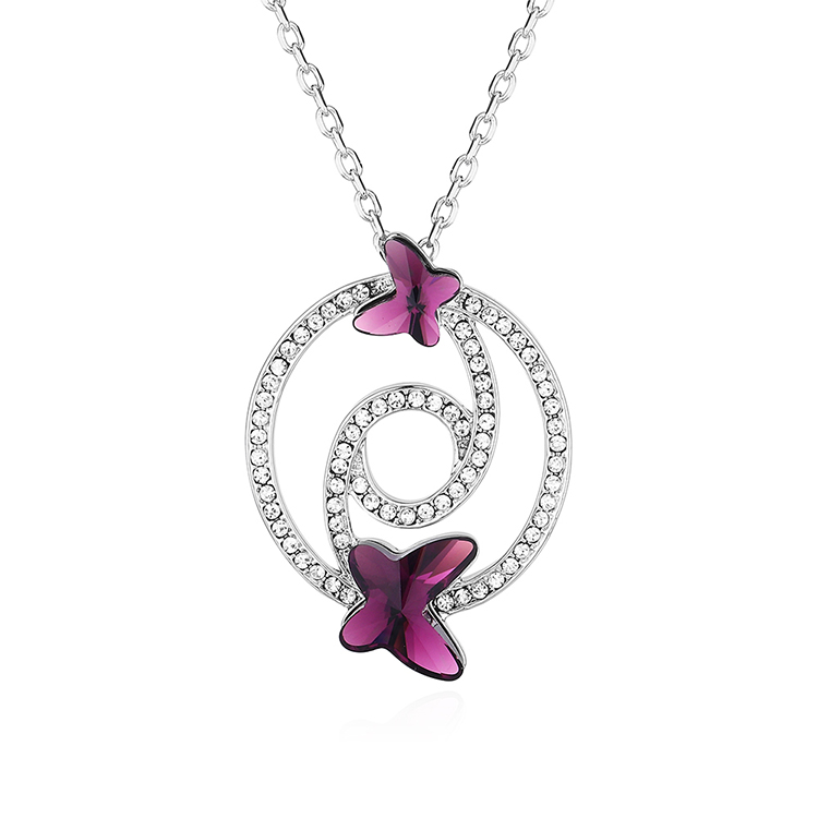 New fashion diamond butterfly necklace wholesale NHSE203867