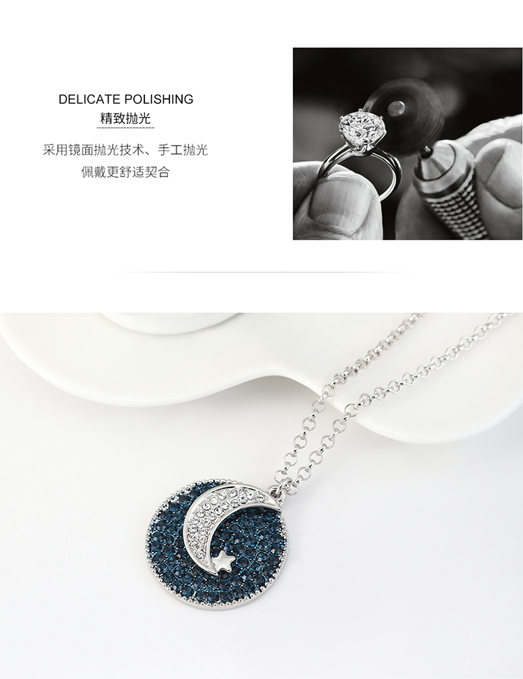 New fashion simple moon crystal necklace yiwu nihaojewelry wholesale NHSE208219