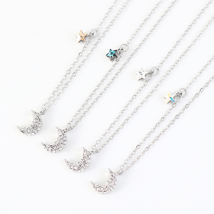 New fashion crystal moon star necklace yiwu nihaojewelry wholesale NHSE208220